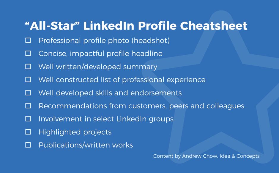 All-star linkedin profile cheatsheet